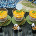 7月初夏の中華料理デザート 杏仁豆腐マンゴーソースがけ