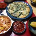 海鮮チヂミとキムチチゲです。チヂミ2種です。手作り1番!!