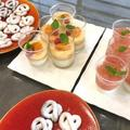 ブランマンジェと桃のコンポートゼリーとブレッツェル&ショコラ