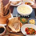 中華ちまき、鶏のカシューナッツ炒め、中華風茶碗蒸し他