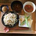 手作り手打ちうどん、2種の漬けだれ、天ぷら、わらび饅頭