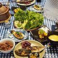 鯵のハーブ漬け焼き+巻き巻き野菜たち