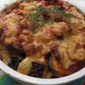 カレーマカロニの夏野菜重ね焼き