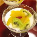 アガーで固めるフルーツ杏仁豆腐