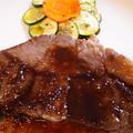 牛肉サーロインステーキとズッキーニのティアン