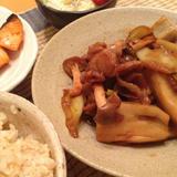レンコンと豚肉煮