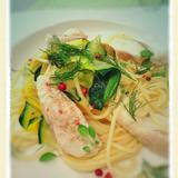 白身魚とズッキーニのスパゲティー