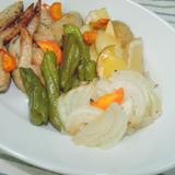 鶏の手羽先と野菜のオリーブオイル焼き