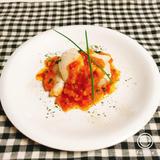 サラダチキンとトマトの柚子胡椒ソース