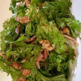 わさび菜とベーコンのクルミ和えサラダ
