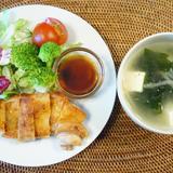 鶏の照り焼き&ワカメスープ