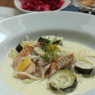 鮭とズッキーニのレモンクリーム煮