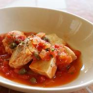 鮭と生麩のトマトソース プロヴァンス風