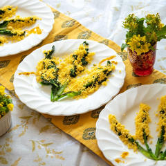 mimosa。菜花と卵をミモザに見立てました🌼