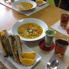 きんぴらサンド・かぼちゃのスープ・抹茶のムース