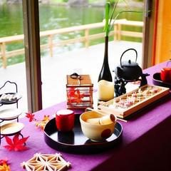 茶室での和カフェ。組子コースター作りやお抹茶体験も