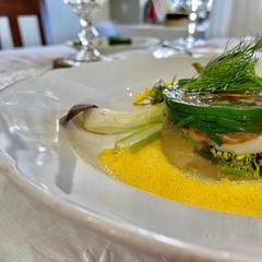 春野菜と新玉ねぎのフリット ホタテのテリーヌ仕立て
