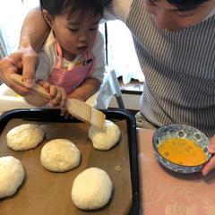 2歳児とパパのパン教室。楽しそう(^^)