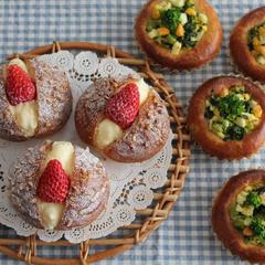苺のクリームボール&菜の花とツナのたまごパン