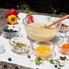 夏のレッスンは、チャクラカラーの色鮮やかなレシピです。