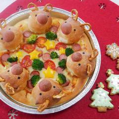 クリスマス親子教室のトナカイピザ