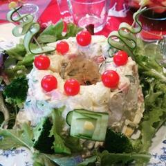 ポテトサラダの Ⅹ'masケーキ仕立て