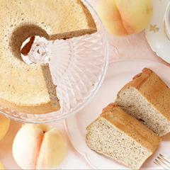 今月のフルーツは、桃紅茶(ピーチティー)の米粉シフォンケーキ
