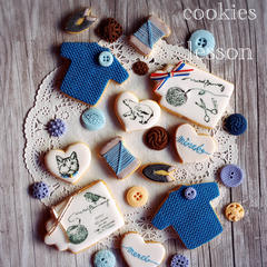フォンダンを使ったセーターとお裁縫セットのクッキーレッスン