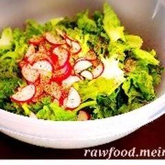 たっぷりの生野菜サラダ、パワーを感じられる一品です。
