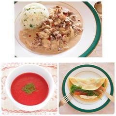ロシア料理レッスンの3品。メインはビーフストロガノフでした。