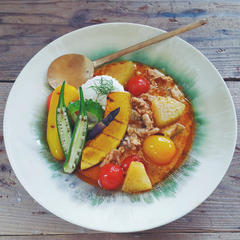 2017年8月のレッスンメニュー、夏野菜のレッドカレー。