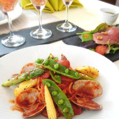 あさりと春野菜のトマトパスタ