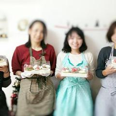 レッスンで作ったフラワーカップケーキ