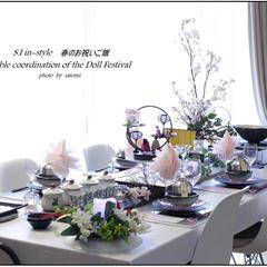 テーブルコーディネート。ひな祭りのテーブルに変わりました。