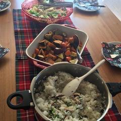 試食タイム。秋の素材を使ったメニュー。