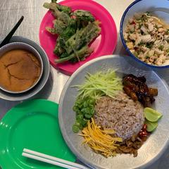 6月タイ料理教室@東中野ガピの混ぜご飯、空芯菜フライヤム