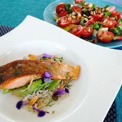 鮭のポワレ ホタテのソース