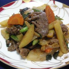 <商禁>牛肉(豚肉)と季節野菜の味噌炒め