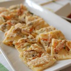 米粉で作る海鮮チヂミ