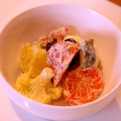カリフラワーと根菜の柚子胡椒マヨネーズ和え