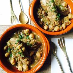 簡単手作りソーセージとお豆の煮込み
