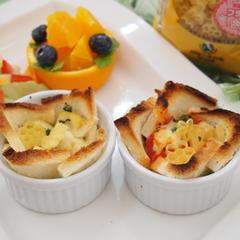 有機パスタでトマト&クリームのパンカップグラタン