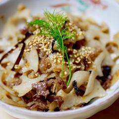 レンコンと牛肉の甘辛炒め