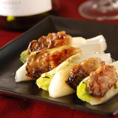 牡蠣とリンゴのバルサミコ炒めチコリのせ