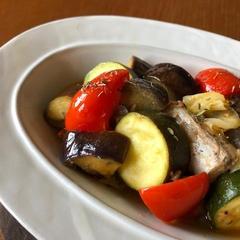 夏野菜とサバの軽い甘酢煮込み