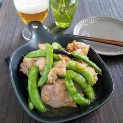 【レシピ】ガッツリ★砂糖豌豆とチキンのガーリック