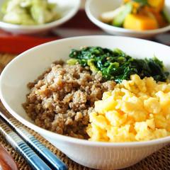 お家ご飯の強い味方❗️三色丼
