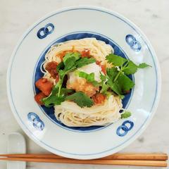 【日常】佃煮とパクチーのおろし素麺