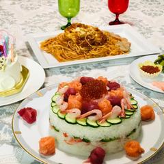 我が家のお祝い寿司ケーキ