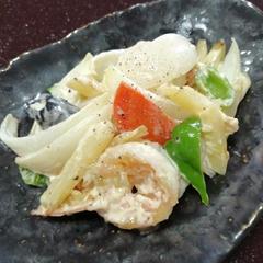 海老と根菜のマヨネーズ炒め